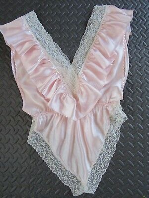 Sissy Lolita 80s Ruffle Teddy Lily of France Shiny Pink Satin Ecru Scallop Lace