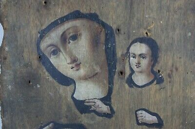 antique Icon Mother of God Orthodox Russian Empire Oil Wood 195x130 mm