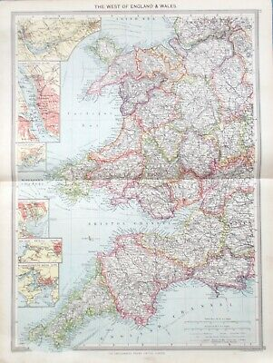Map of South West England & Wales. 1905. CORNWALL. DEVON. HEREFORD. CARDIFF