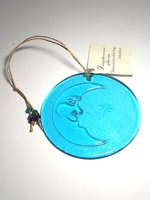 Handcrafted AURORA GLASS Blue SUNCATCHER Moon And Star CELESTIAL Recycled NWT
