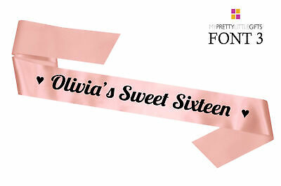 Personalised Sweet Sixteen Sash Luxury Rose Gold Gift 16th Birthday Gift Party
