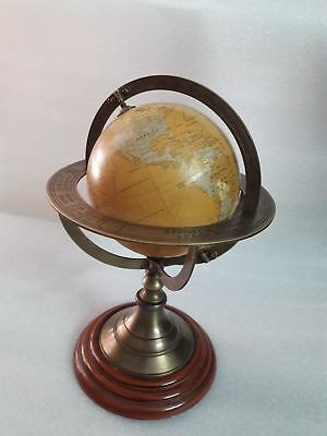 Authentic Models Navigator's Terrestrial Globe Mercator Wood Stand Nautical Item