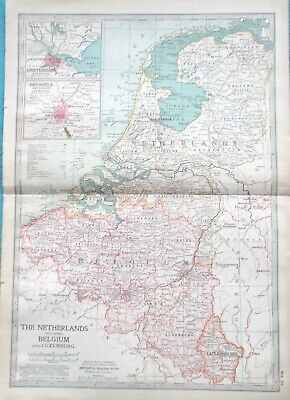 Map of Netherlands & Belgium. 1902  LUXEMBOURG. AMSTERDAM. BRUSSELS. HOLLAND