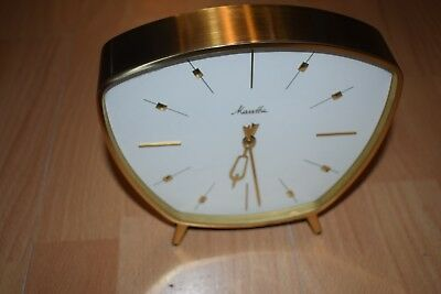 Prettiest Mauthe Mantel Clock Table Mechanical M. Gong Brass Watch 50s 60s