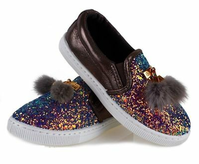 10UK GIRLS Glitter Pom FUR Pumps Plimsolls SNEAKERS TRAINERS SHOES Shimmer KIDS