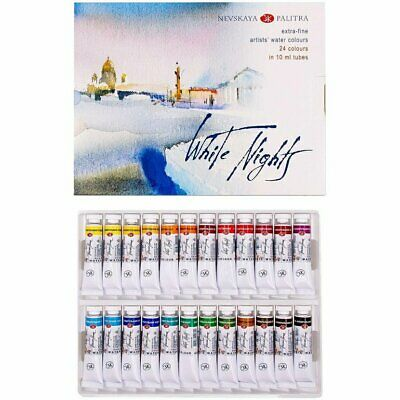 """Set of watercolor paints """"White Nights"""" in tubes 24 x10 ml"""