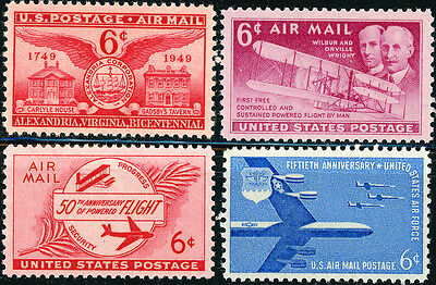 US Scott #C40 C45 C47 C49 (6¢ Airmail Issues 1949-57)  SET of 4 MNH**FREE SHIP**