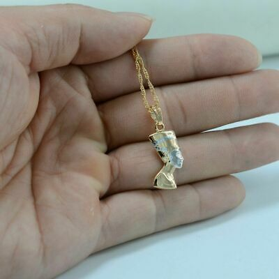 Small Ancient Egyptian Queen Necklace Pendant Gold Plated Egypt Nefertiti Head