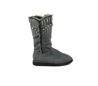 Nina Morena Grey Tall Crystal Trim Faux Fur Ugg Boots - Size 10
