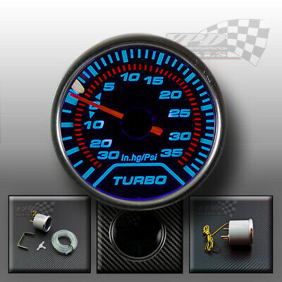 Boost gauge turbo interior dash smoked dial face with chrome bezel 52mm (psi)