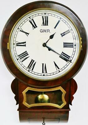Superb Antique English G.W.R 8 Day Single Fusee Mahogany Drop Dial Wall Clock