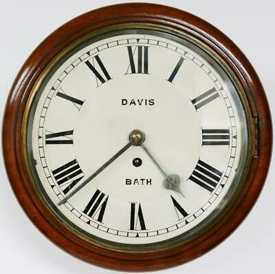 Superb Antique German 8 Day Solid Mahogany Single Train Kitchen Dial Wall Clock