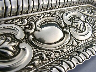 STUNNING SOLID SILVER PEN or DRESSING TABLE TIDY TRAY 1907 ANTIQUE