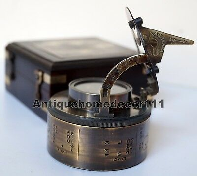 Antique Brass Sundial Drum Compass Nautical Collectible With Wooden Black Box