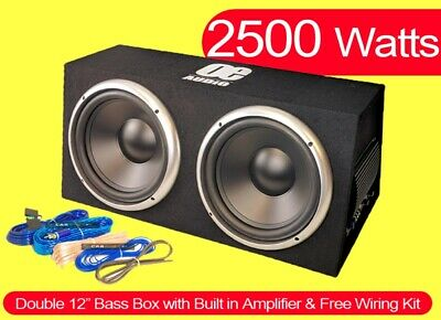 "2500W Preloaded dual 12"" Subwoofer Enclosure With Amplifier Easy install Active"
