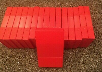 Lot 16 VHS Cassette Red Plastic Snap-Close VHS Media Storage Case Shell Archival