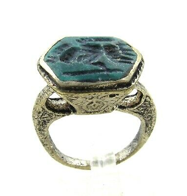 Authentic Post Medieval Silver Ring W/ Intaglio Warrior - Wearable - J234