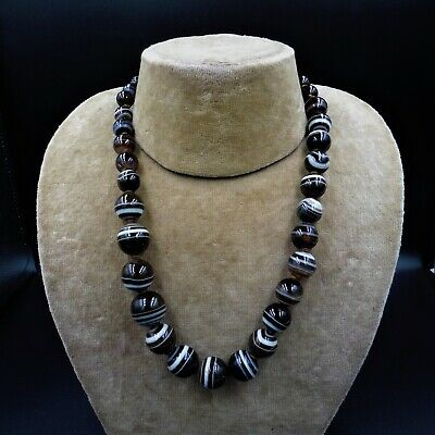 """Antique Victorian Banded Bullseye Agate Beaded Gold Necklace 20"""""""