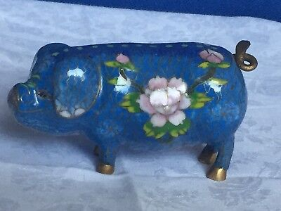 Cloisonne Pig Ornament Chinese Blue, Flower Decoration and Brass Tail. Excellent