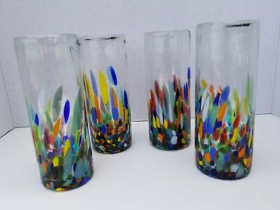 Hand Blown Highball Half Confetti Set Of 4 ***promotional Discount Save 10%***