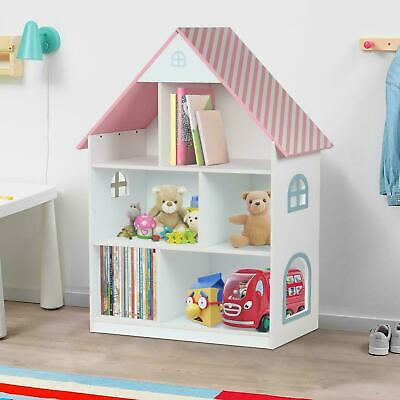 Kids Childrens Wooden Doll House Bookcase Shelf Sotrage Rack Organiser Bookshelf