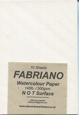 "A pack of 10 sheets "" FABRIANO WATERCOLOUR PAPER "" 140lb/300gsm. NOT Surface ."