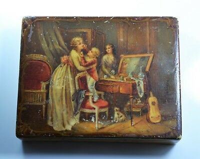 SUPERB Antique 19th Century French Vernis Martin Style Snuff Box Signed Valencay