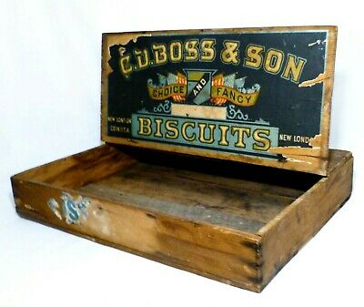 Early 20Th C Vint C. D. Boss & Sons Choice & Fancy Biscuit Box, W/Paper Label