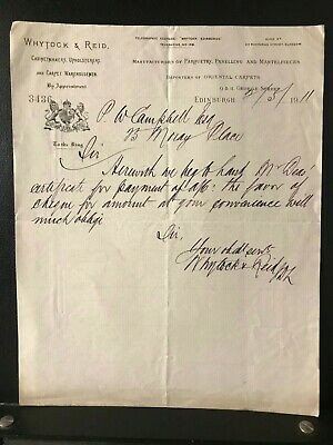 1911 Edinburgh Letter - Whytock & Reid - Cabinetmakers - by Appointment - ref210