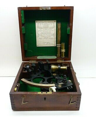 Antique 1943 Husun Sextant Made By Henry Hughes & Sons LTD. London FREE SHIPPING