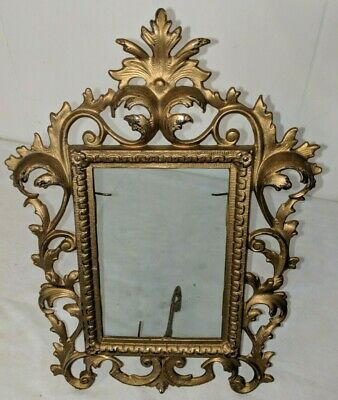 Gorgeous Antique Victorian Cast Iron Gold Gilt Standing Easel Frame