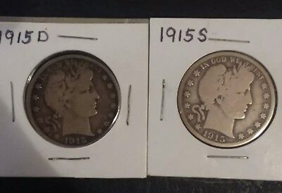 1915-D & 1915-S,  D / S Mint Silver Barber Half Dollar, 2 coin lot. SILVER COINS