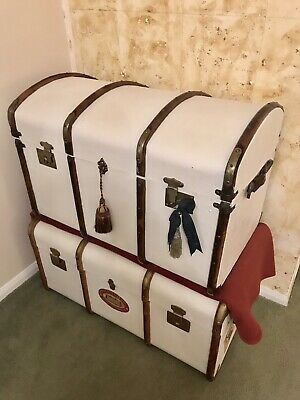 Dome Top Steamer Trunk Hand Painted Colonial Style