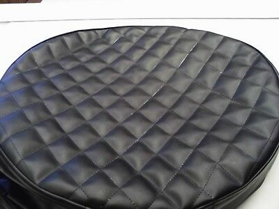 "Peterbilt fuel tank covers set of 2 Quilted Black size 26"" with 6"" belt"