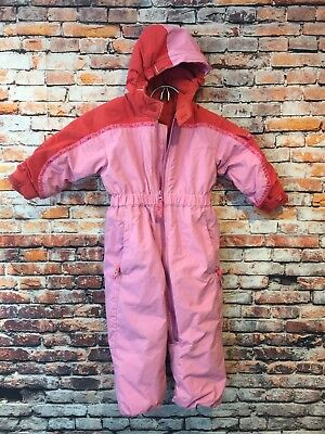 cb19860fef5 REI TODDLER GIRLS 2T ONE PIECE HOODED SNOW SUIT SNOWSUIT PINK Red FLEECE  LINED