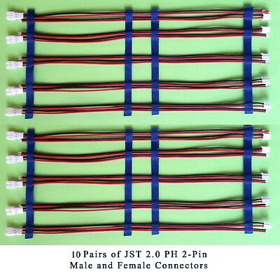 CRIMPED! 10 pairs Mini JST 2.0 PH 2-Pin, 10 MALE+10 FEMALE Conn. & 200mm Cable.