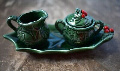 Vintage Lefton China Christmas Holly Berry Creamer and Sugar Bowl Set