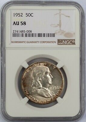 1952 50C Franklin Half Dollar NGC AU 58 Almost Uncirculated