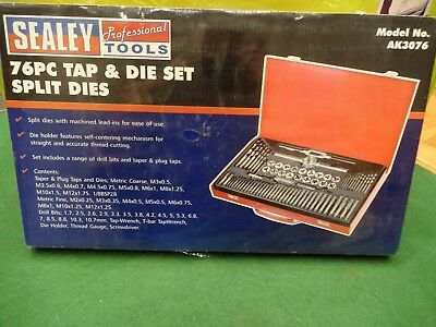 Bnib Still Sealed Sealey 76 Piece Tap & Die Set, Split Dies