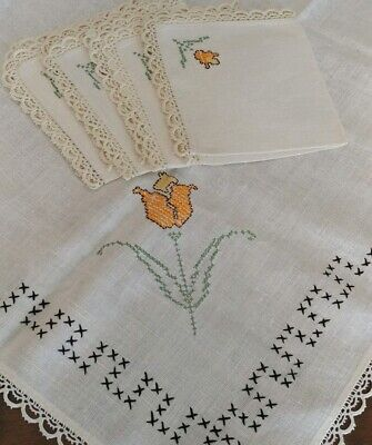 """Vintage Embroidered Stitched Linen Crochet Tablecloth 36""""×34""""+4 -12"""" Napkins(#18"""