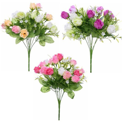 Beautiful Artificial Rose Spring Bunch    3 Colours   16 Flower Heads