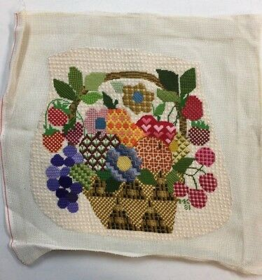 Completed Finished Needlepoint Flowers Fruit Basket Grapes Berries Hearts