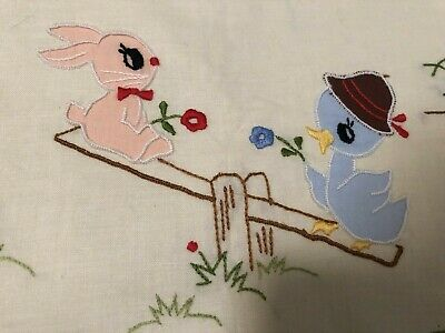 NOS~Hand Embroidered Baby Crib Coverlet Sheet Bunny Duck Flowers EASTER 33 x 50