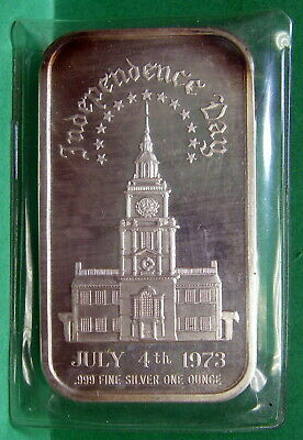 Independence Day July 4,1973, Art Bar Fine Silver .999 1 troy ounce,Madison Mint