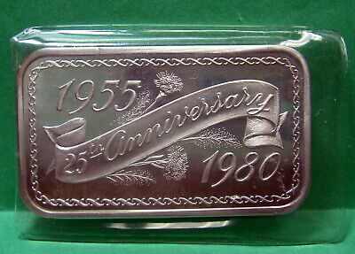 25th Anniversary 1955 to 1980, Art Bar Fine Silver .999 1 troy ounce, Madison