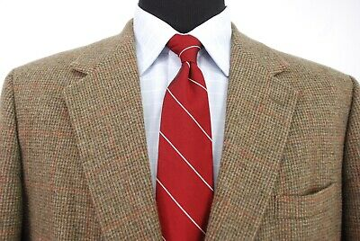 Brooks Brothers 2Btn Tweed Sport Coat Brown Red Check Men's 43R