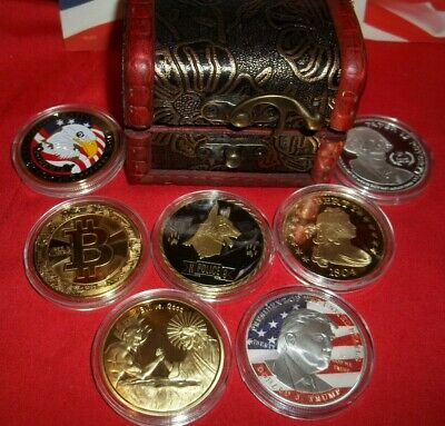 Best Lot: 7 Commemorative Art-Rounds Gold & Silver Plated ~ In free Treasure Box