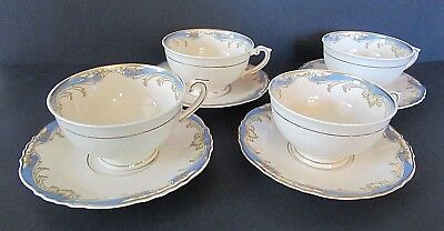 Set of 4 Syracuse China Carvel Pattern Federal Shape Tea Cups & Saucers VGC!