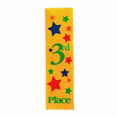 3rd PLACE AWARD RIBBONS,KIDS CARNIVALS, PARTICIPATION,CLUBS - 12pk
