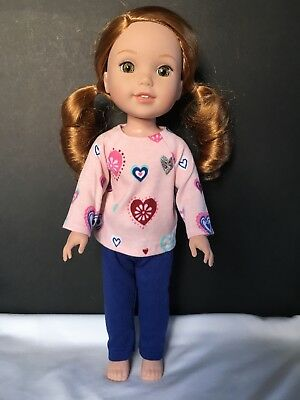 Fits American Girl Wellie Wishers Doll Clothes Outfit  Pants Pink Hearts Top New